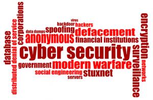 Nube de palabras relacionadas con ciberamenazas