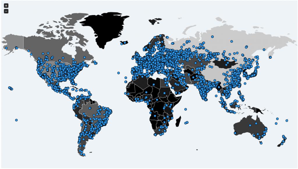 Mapa de Malwaretech.com con incidencias de Wcry/WannaCry
