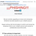 Campaña de phishing suplantando a LinkedIn