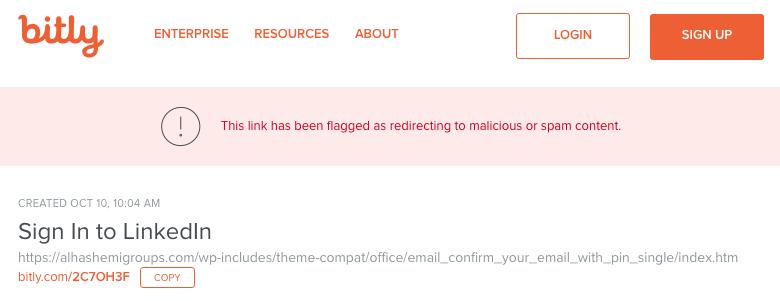 Copia de pantalla de la resolución por parte de bitly.com de una URL acortada por su servicio. Incluye advertencia de enlace malicioso.