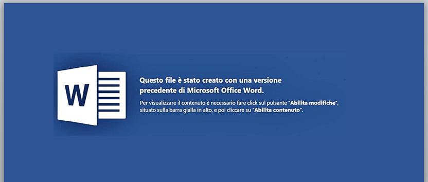 Documento adjunto con plantilla en Italiano que solicita habilitar las macros para ver el contenido.