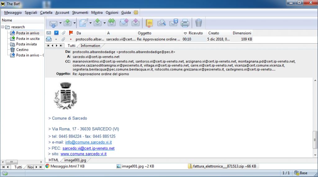 Copia de pantalla del email Spear-Phishing con archivo ZIP malicioso adjunto enviado el 5 de Diciembre de 2018
