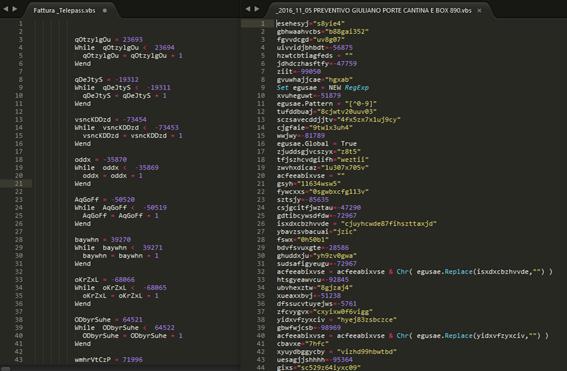 Copia de pantalla con código mostrando distintos métodos de ofuscación empleados en archivos VBS