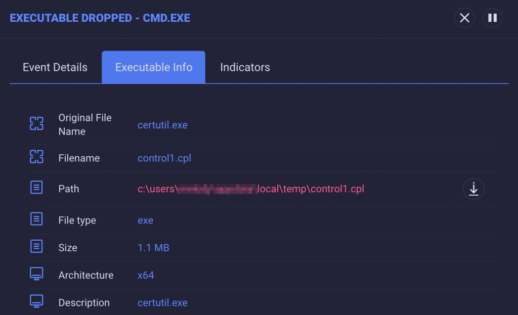 Copia de pantalla de ReaQta-Hive mostrando información de un ejecutable.