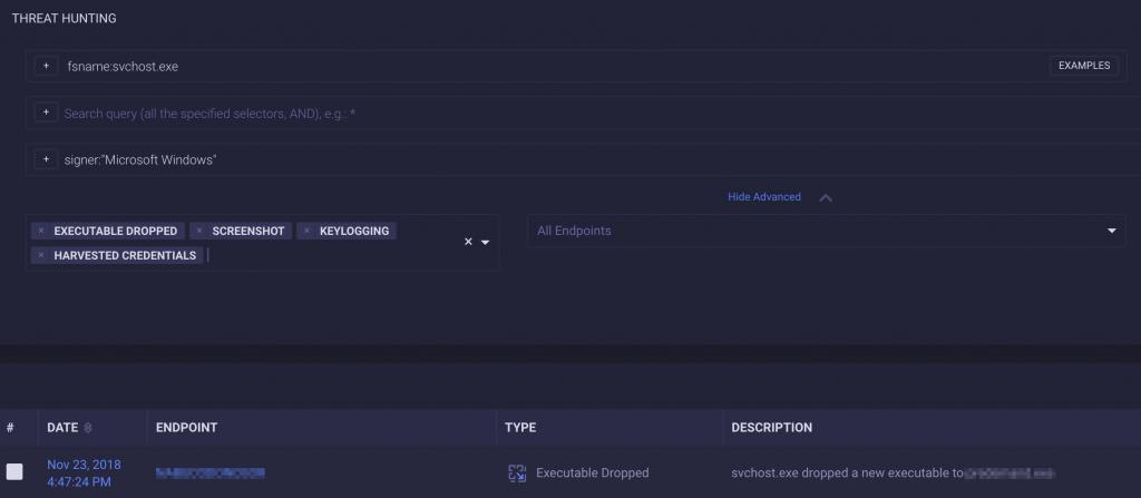 Copia de pantalla de herramienta de búsqueda de amenazas de ReaQta-Hive