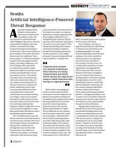Página 29 de la revista Enterprise Security de 23 de Noviembre de 2018 en la que se incluye una entrevista al CEO de ReaQta a página completa.