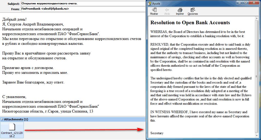 """Archivo malicioso CHM adjunto a la campaña de spear-phishing de Silence group y contenido del archivo """"Contract_12112018.chm"""""""