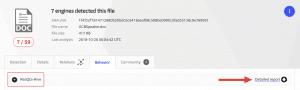 """Copia de pantalla de la pestala """"Behavior"""" en VirusTotal mostrando el informe de ReaQta-Hive"""